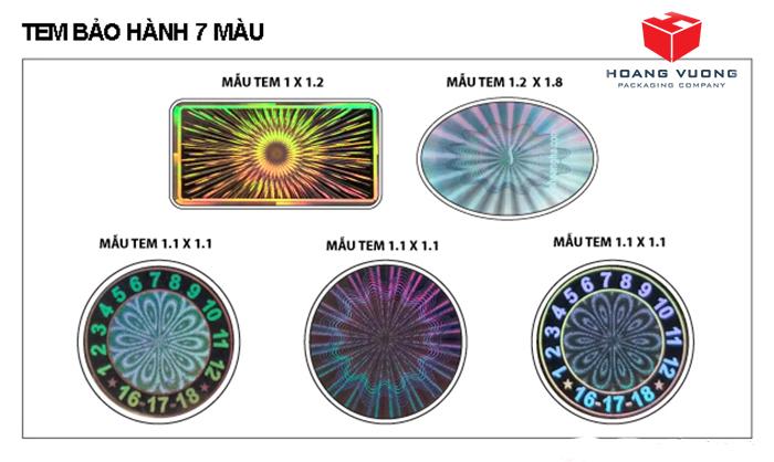 Phân loại tem 7 màu